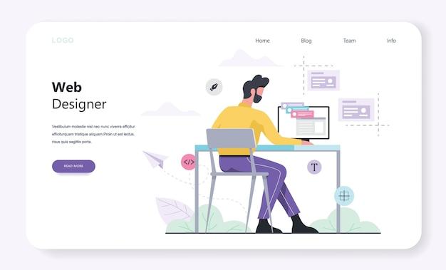 Web e programmazione modello banner orizzontale per pagina web. design reattivo per il sito web. uomo seduto al tavolo. illustrazione