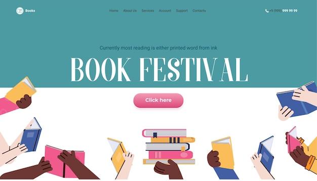 Modello di pagina del sito web per l'illustrazione piana di vettore del fumetto del festival del libro