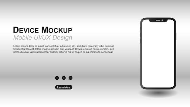 Smartphone web con modello di schermo vuoto senza cornice