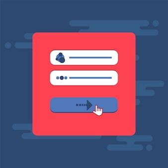 Modello web ed elementi per il modulo del sito di iscrizione e-mail, newsletter o accesso all'account, invio. vettore