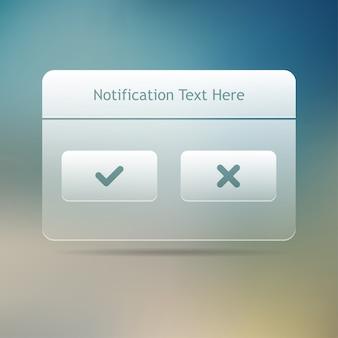 Finestra dei messaggi di notifica web e interfaccia utente. .