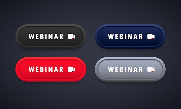 Set di pulsanti webinar. guardare in streaming online, corso, seminario. vettore su sfondo isolato. env 10.