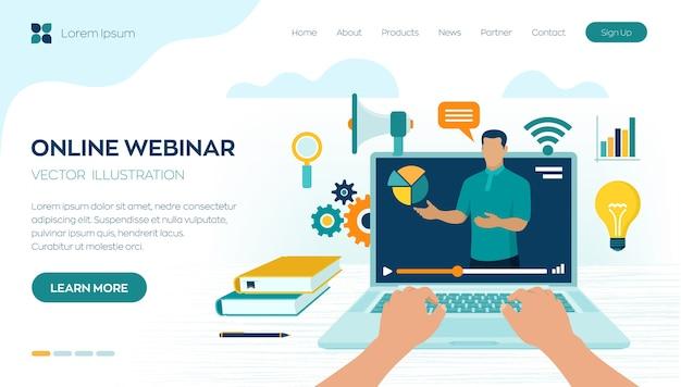 Seminario web. istruire. pagina di destinazione e-learning.