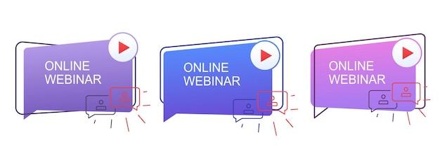 Concetto di webinar, comunicazione a distanza online. icone webinar online dal vivo.