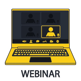 Interfaccia webinar nel notebook. comunicazione online, chat. servizio clienti. interfaccia utente di videoconferenza con laptop realistico. videochiamate interfaccia per app di comunicazione sociale