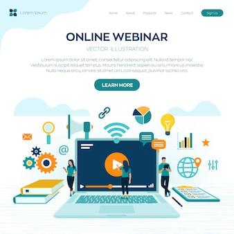 Seminario web. conferenza internet. seminario basato sul web. insegnamento a distanza. concetto di e-learning con icone e personaggi.