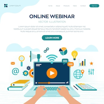 Pagina di destinazione del webinar. conferenza internet. seminario basato sul web. insegnamento a distanza. concetto di business di formazione e-learning.