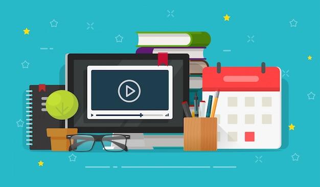 Apprendimento di webinar o video online che guardano sul fumetto piano dell'illustrazione dello schermo di computer