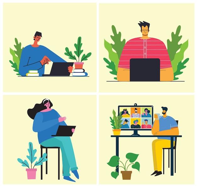 Illustrazione di concetto online di webinar. illustrazione moderna piatta.