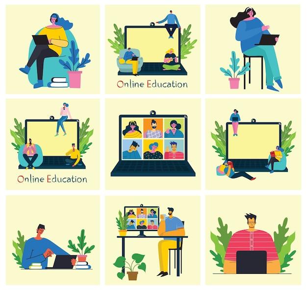 Illustrazione di concetto online di webinar. le persone usano la chat video per le conferenze.