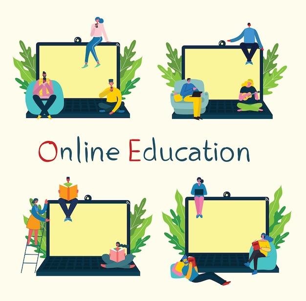 Illustrazione di concetto online di webinar. persone in videoconferenza appartamento moderno illustrazione.