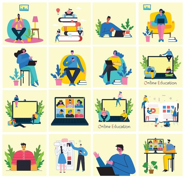 Illustrazione di concetto online di webinar. persone in videoconferenza. insieme di attività di affari di persone. lavora a distanza da casa. set piatto illustrazione moderna