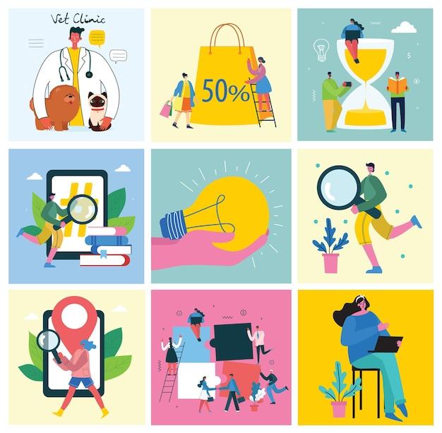 Webinar online concept illustrazione set
