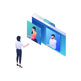 Illustrazione isometrica di raccomandazioni professionali di webinar. il personaggio femminile ascolta e chiede a due presentatori online sul sito blu. aiuto qualificato e concetto di formazione multimediale.