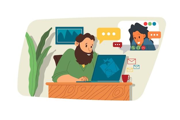 Webinar illustrazione vettoriale, concetto di riunione online, lavoro da casa, design piatto. videoconferenza, telelavoro, distanziamento sociale, discussioni aziendali. personaggio che parla con i colleghi online.