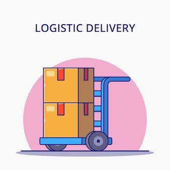 Weblogistic carrello e scatole del fumetto. concetto dell'icona di logistica isolato.