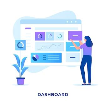 Concetto di design del dashboard di amministrazione del sito web.