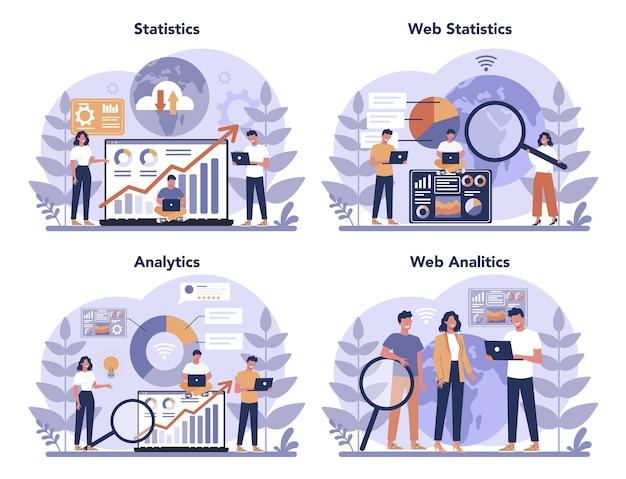 Insieme di concetto di analisi del sito web. miglioramento della pagina web per la promozione aziendale come parte della strategia di marketing. analisi del sito web per ottenere dati per la seo. illustrazione piatta isolata