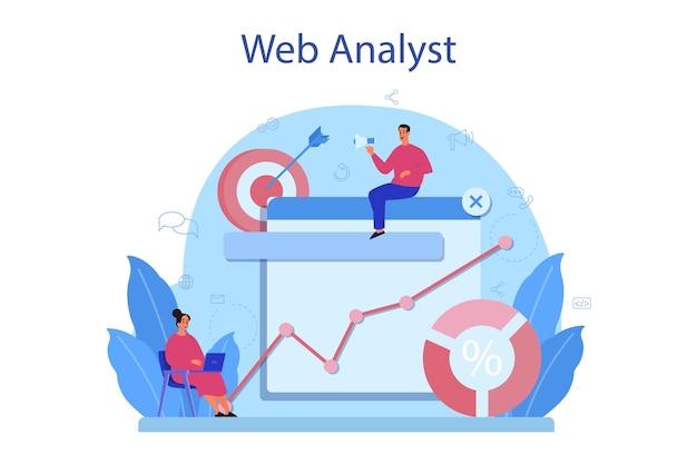 Concetto di analista del sito web. miglioramento della pagina web per la promozione aziendale. analisi del sito web per ottenere dati per la seo. illustrazione piatta isolata Vettore Premium