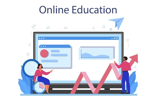 Piattaforma o servizio online di analista di siti web. miglioramento della pagina web per la promozione aziendale come parte della strategia di marketing. formazione in linea. illustrazione piatta isolata Vettore Premium