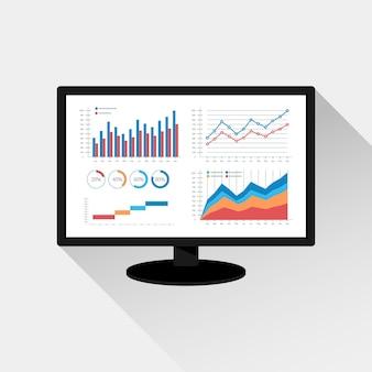 Analisi del sito web e concetto di analisi dei dati seo. icona grafica moderna sullo schermo del monitor