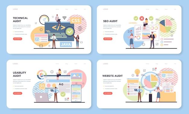 Banner web di audit del sito web o set di pagine di destinazione