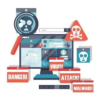 Banner del sito web del software antimalware per la protezione della posta elettronica