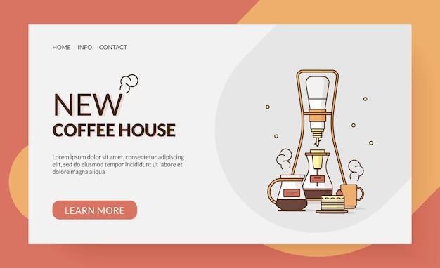 Banner del sito web per la prima pagina di una caffetteria o di una casa illustrazione vettoriale