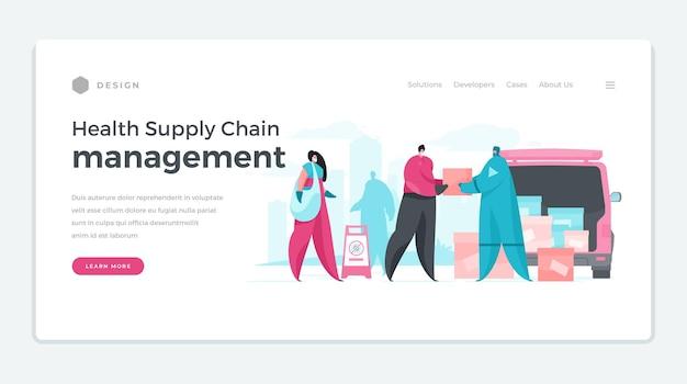 Banner del sito web per la gestione della catena di fornitura sanitaria
