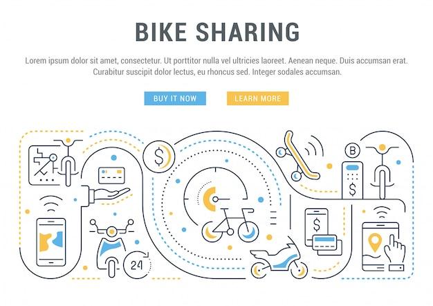 Banner del sito web o pagina di destinazione di bike sharing.