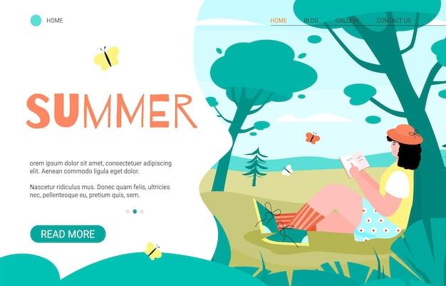 Banner del sito web sulla ricreazione estiva con la donna che si gode la giornata estiva sulla natura, illustrazione vettoriale dei cartoni riposa nel concetto di campeggio nel parco o nella foresta.