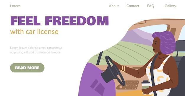 Banner del sito web con donna che viaggia con illustrazione vettoriale piatta dell'auto
