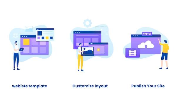 Insieme dell'illustrazione del concetto di costruttore di siti web