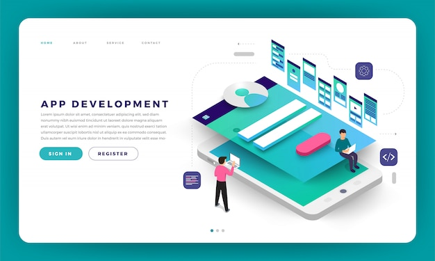 Sviluppo di app per il concetto di sito web.