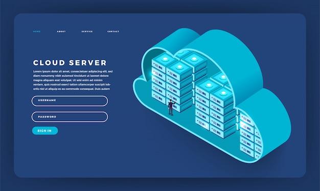Sito web concetto cloud computing tecnologia utenti configurazione di rete isometrica. illustrazione.