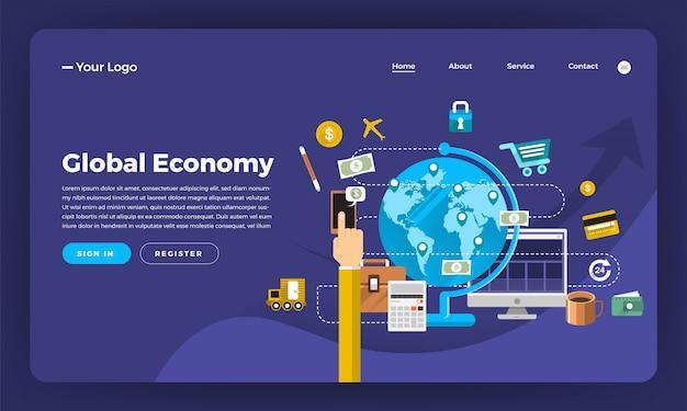 Marketing digitale del concetto di sito web. economia globale. illustrazione.