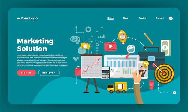 Marketing digitale del concetto di sito web. soluzione di marketing. illustrazione.