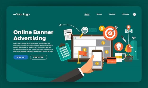 Marketing digitale del concetto di sito web. banner pubblicitari online. illustrazione.