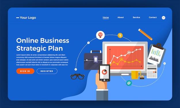Marketing digitale del concetto di sito web. piano strategico aziendale online. illustrazione.