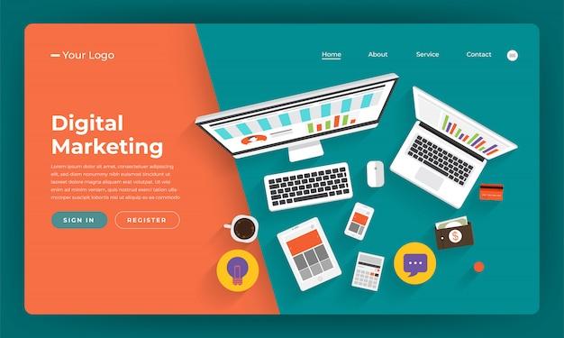 Marketing digitale del concetto di sito web. piano strategico aziendale online. illustrazione. Vettore Premium