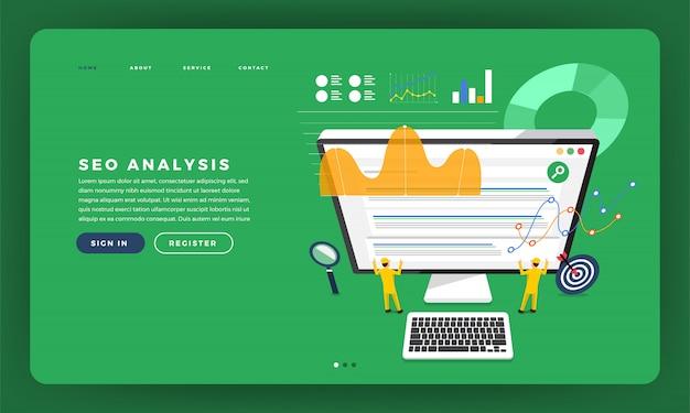 Concetto di sito web analisi seo con grafico e grafico sullo sviluppatore del team che costruisce un sito web di rango sul desktop. illustrazione.