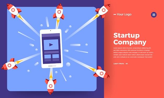 Società di stratup concetto di sito web significa aumento del razzo dal computer. illustrazione.
