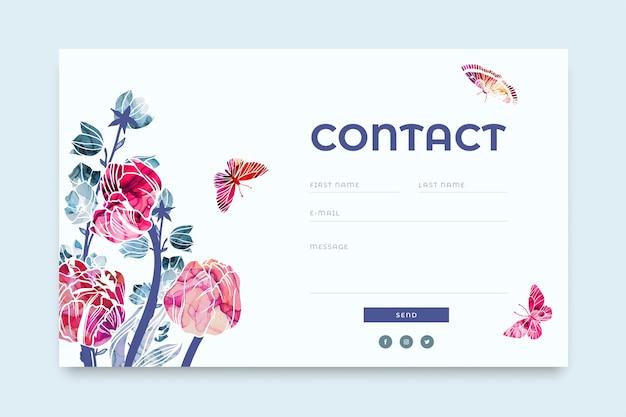 Modello di modulo di contatto del sito web con elementi floreali astratti alla moda dipinti con inchiostro di alcool