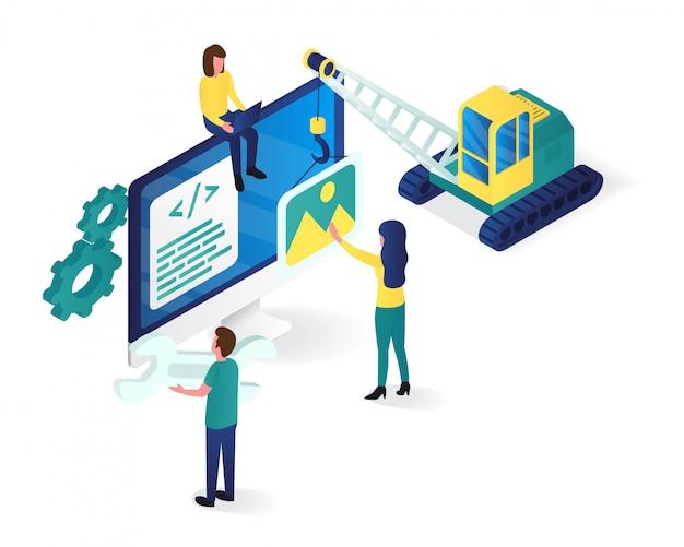 Illustrazione isometrica di progettazione e sviluppo di siti web