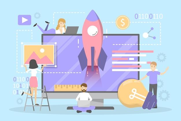 Set di banner orizzontale sito web e sviluppo.
