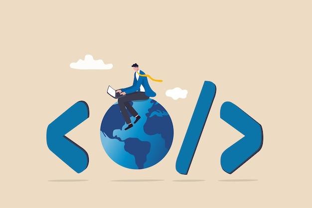 Sviluppo di siti web, codifica di applicazioni www, tecnologia per creare software di cyberspazio online che si collega attraverso il concetto di internet, codifica di ingegnere di software su laptop seduto su globo con simbolo di codifica.