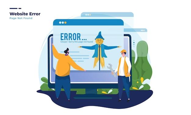Illustrazione della pagina di errore del sito web non trovata
