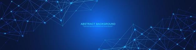 Design di intestazione o banner del sito web con sfondo geometrico astratto e punti e linee di collegamento. connessione di rete globale. tecnologia digitale con sfondo plesso e spazio per il testo.