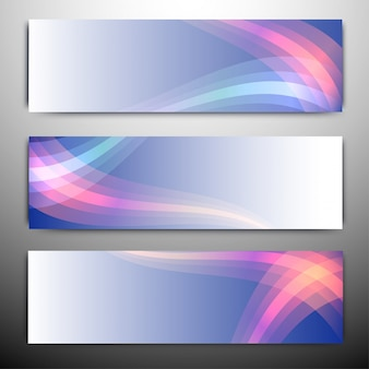Intestazioni di sito o banner con onde colorate.
