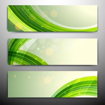 Intestazioni o banner di sito web con righe ondulate verdi.